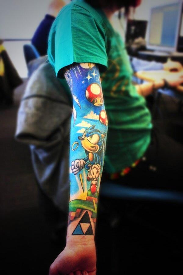 Awesome video-game sleeve styled tattoo, featuring sonic ... Uberhaxornova Tattoo Sleeve