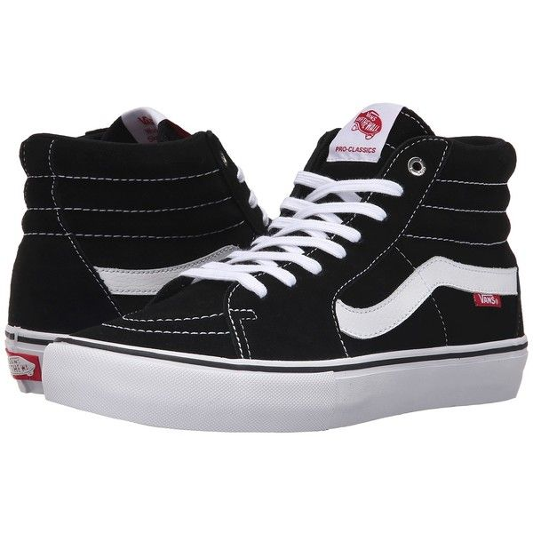 Vans SK8-Hi Pro (Black/White/Gum) Men's Skate Shoes ($70) ❤ liked on Polyvore featuring men's fashion, men's shoes, men's sneakers, shoes, black white mens dress shoes, mens lace up shoes, mens skate shoes, mens sneakers and mens black and white shoes