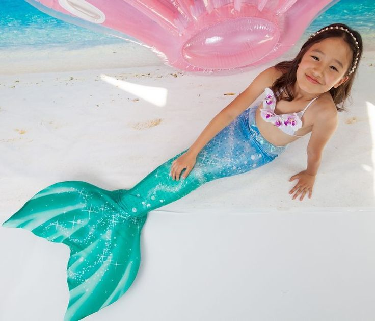 Comment Avoir Une Queue De Sirene #7: Queue De Sirène Bleu Et Verte Avec Monopalme Pour Enfant (Abyss Mermaid)  Milkyway #