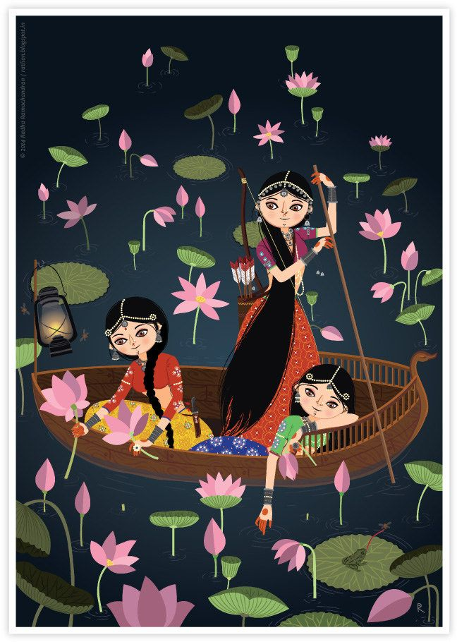 Ragamala Series No.6: 'The Lotus Gatherers', by Radha Ramachandran   ratlion.blogspot.in