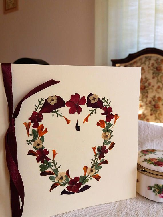 Valentine's card. Heart shaped romantic card. Pressed