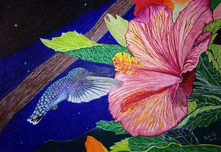 By JuhVik hummingbird, colibri, Bird, flower, paint, art