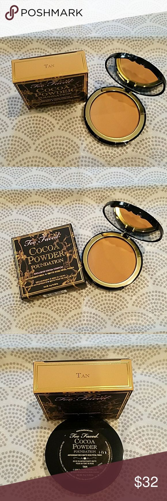 """Too Faced Cocoa Powder Foundation *TAN*A fan fave 5 star rated powder foundation with over 600 reviews on the Too Faced site. Such a great, buildable medium to full coverage foundation. Matte but never dry """"rose petal"""" finish, oil absorbing, and it smells delicious. Diminishes, and won't settle into fine lines and wrinkles. This brand is cruelty freeyay! Too Faced Makeup Foundation"""