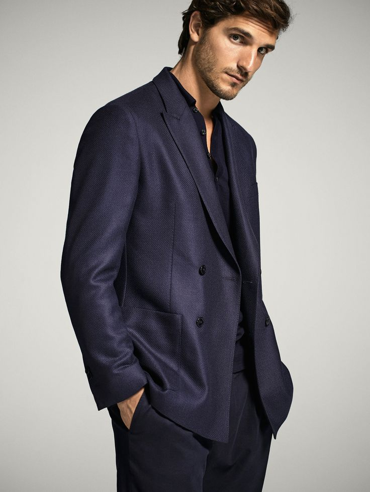 NAVY BLUE DOUBLE-BREASTED WOOL BLAZER - Men - Massimo Dutti