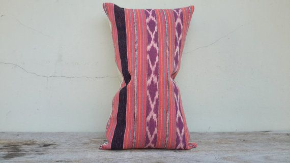 12 x 20 inch handmade Cotton Pink / Purple Ikat Hand by CoverRelax
