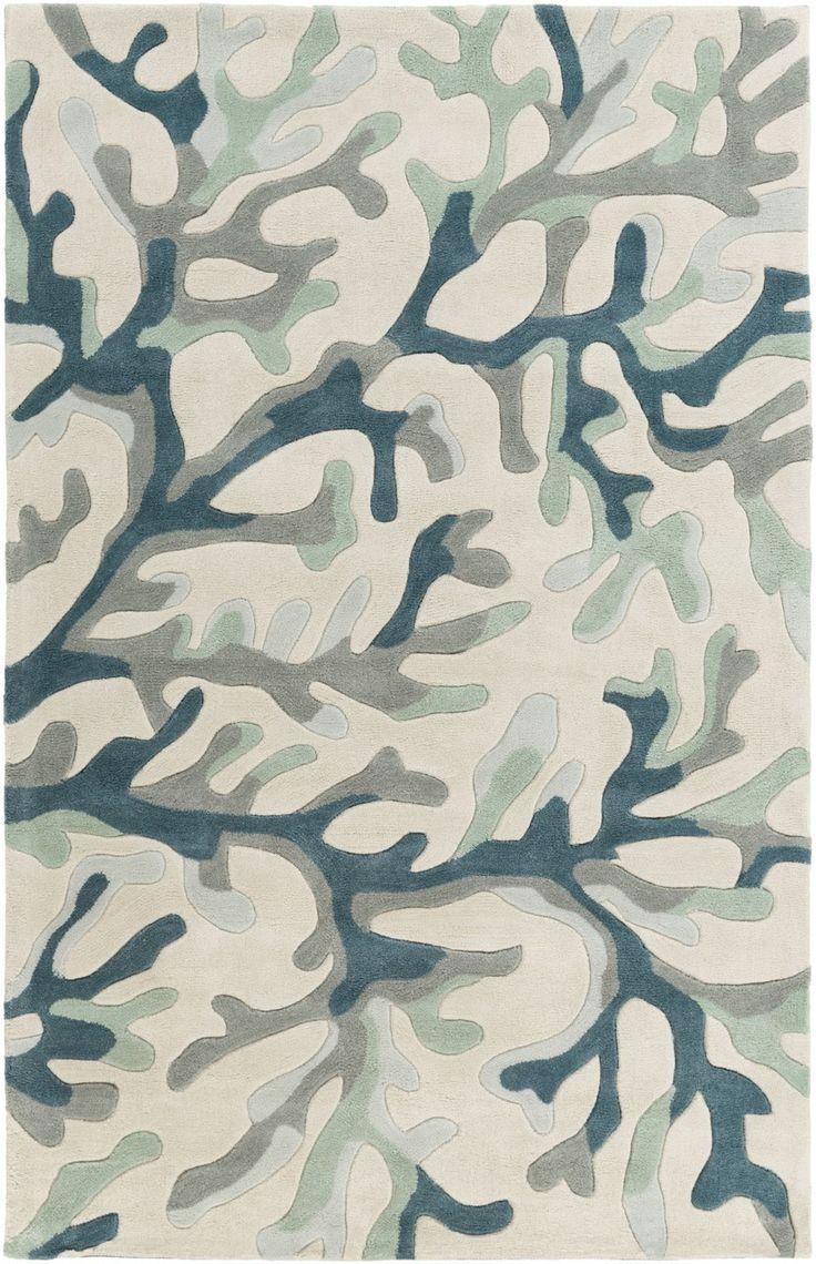 Teal-Grey Coral Reef Plush Rug