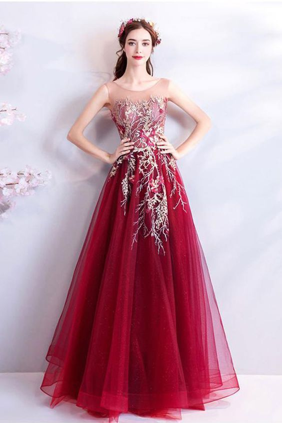 960fe44388 Fashion Embroidery Lace Burgundy Long Wedding Formal Prom Dresses ...