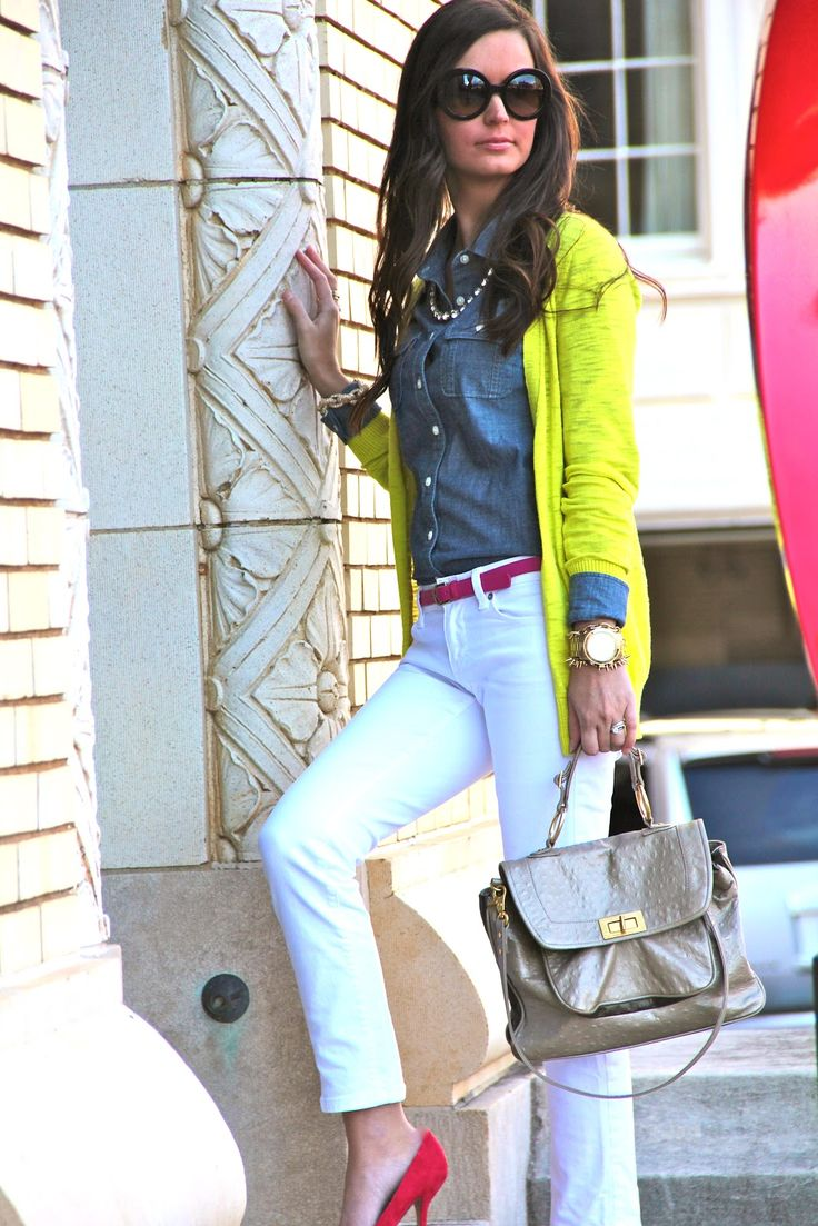 White skinny jeans, denim button down, neon yellow cardigan, hot pink belt and shoes!