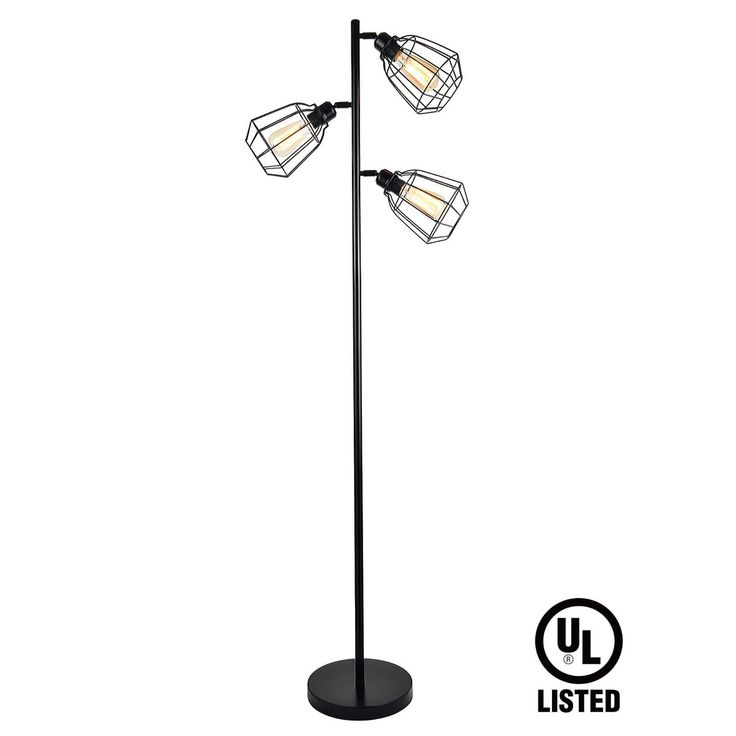 65inch Track Tree Floor Lamp, 3-head Torchiere Lamp Fixture with Open Cage Shades, Vintage Iron Art, Black