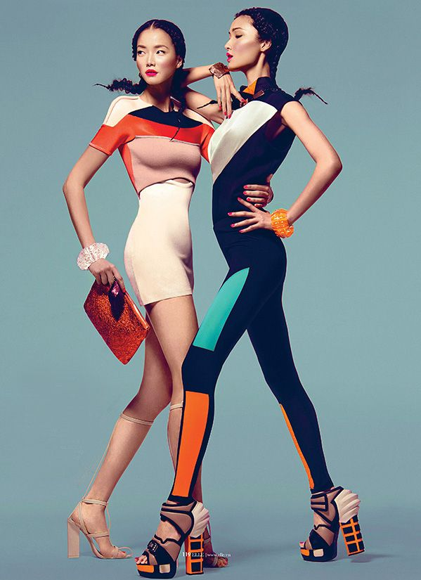 twin extreme Sung Hee, Wang Xiao & Jay Shin for Elle Vietnam March 2013