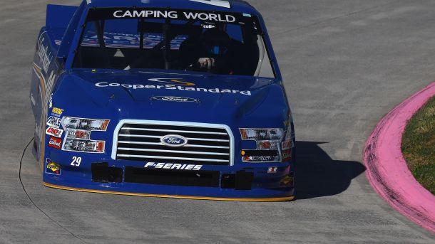 #MOTORSPORTS  #MOTORS  #NASCAR    MARTINSVILLE, VA - OCTOBER 30:  Austin Cindric, driver of the #29 Cooper Standard Ford, practices for the NASCAR Camping World Truck Series Kroger 200 at Martinsville Speedway on October 30, 2015 in Martinsville, Virginia.  (Photo by Jonathan Moore/Getty Images)
