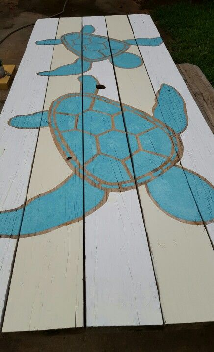 Sea turtle picnic table.  Painted by Deborah Smith