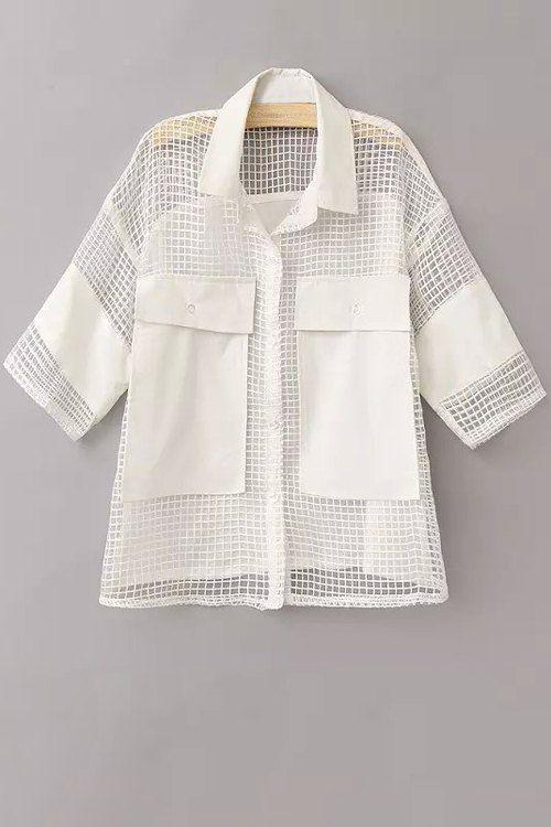Mesh Flat Collar 3/4 Sleeve Solid Color Shirt