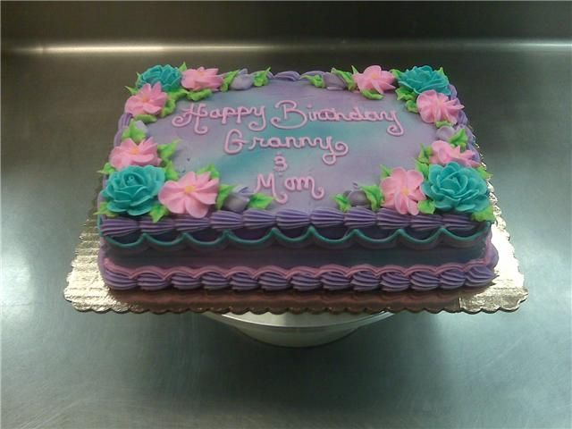 Purple Air Brush Flower Sheet Cake Purples Flowers