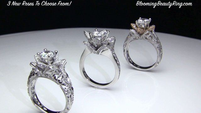 """""""Roses Forever"""" Flower Engagement Ring Collection by BloomingBeautyRing.com"""