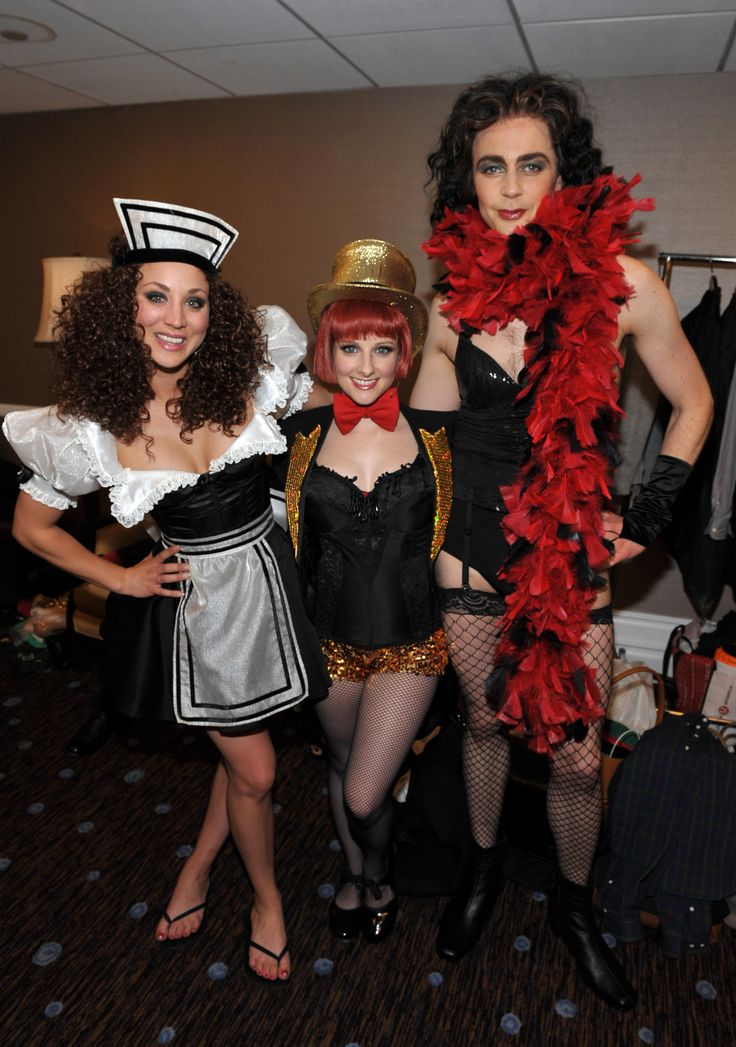 I never, ever needed to see Sheldon this way. *shudders*  (Jim Parsons Kaley Cuoco and Melissa Rauch. Big Bang Theory + Rocky Horror)