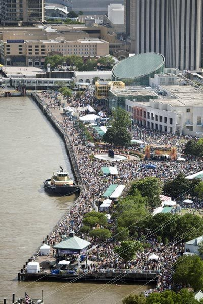 The view of French Quarter Fest, the biggest free live music festival in the south!