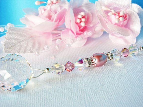 Crystal Ball Ceiling Fan Pull Chain Swarovski Pink Purple Crystals Little Girls Room Nursery Decor