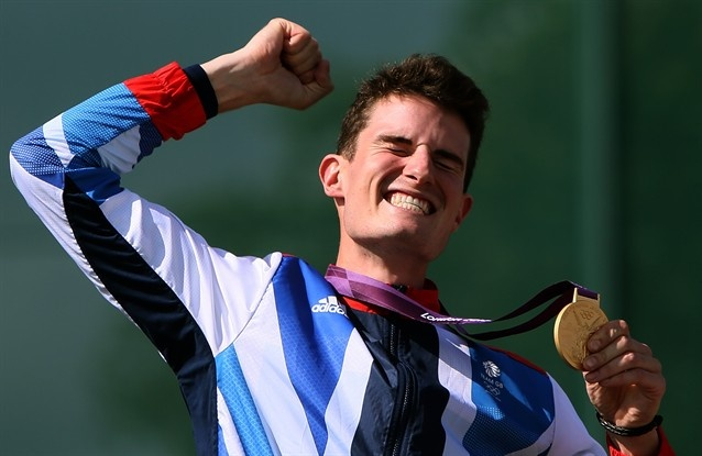 Team GB's Peter Robert Russell Wilson (phew) gold medalist in mens double trap shooting!