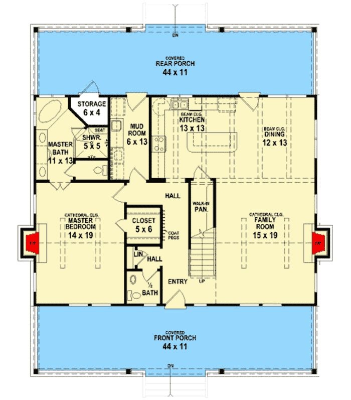 Big Rear and Front Porches - 58555SV | Architectural Designs - House Plans