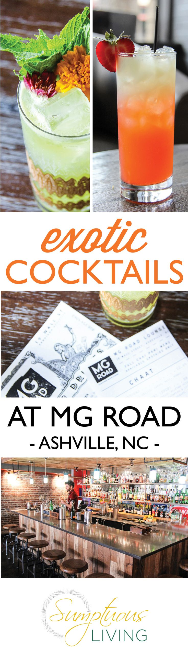 Happy Hour gets exotic with beautiful drinks and tasty bites at one of our favorite Asheville's bar spots, MG Road | Sumptuous Living | https://sumptuousliving.net/exotic-cocktails-in-asheville/