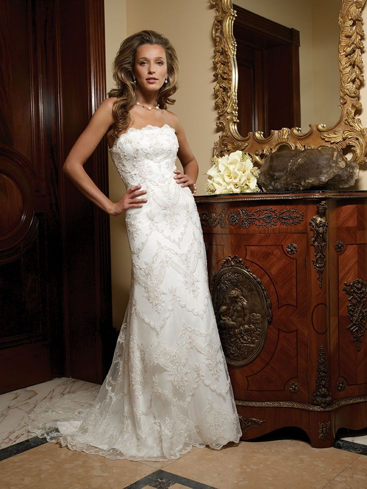 Lovely Fantastic Casablanca Bridal Lace A Line Wedding Dress