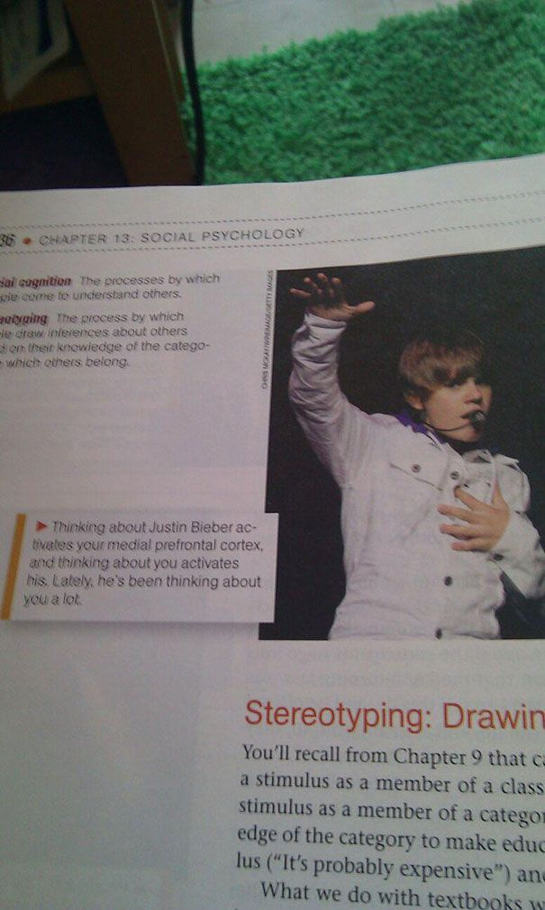 Justin Bieber's photo in psychology textbooks. Hahahaha
