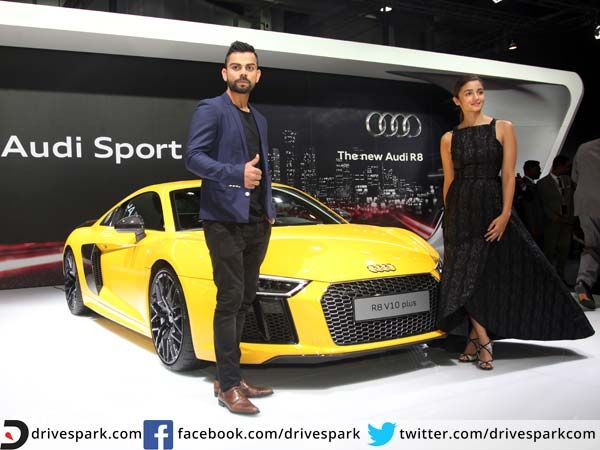 Ballistic Audi R8 V10 Plus Roars Into India With Virat Kohli At The Wheel   #AutoExpo2016 #Audi #ViratKohli #AliaBhatt