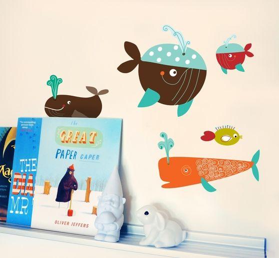 Naklejka tkanina na ścianę 'Whales Mini'