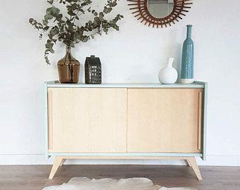 Zeile, Möbel Tv, Jahrgang Skandinavisch, Niedrige Buffet, Holz, Kalk Grüne  Farbe