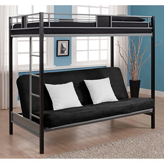 A bunk bed style Futon has the standard seat underneath, with a frame supporting a bed above the sofa, making for a handy bunk bed. This is a traditional child's Futon.