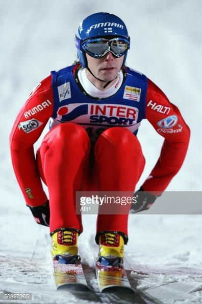 Picture taken 03 December 2005 shows Janne Ahonen of Finland competing in the WC Ski Jumping event in Lillehammer central Norway Switzerland's...