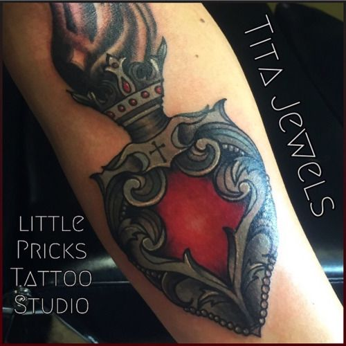 Beautiful sacred heart tattoo by Tita Jewels!  512-502-4591 to book your appointment!  Best tattoo shop in Austin Texas!