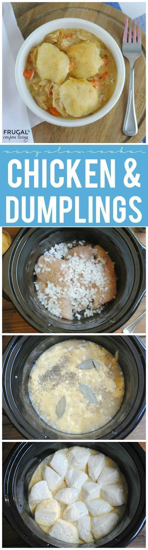 Easy Slow Cooker Chicken and Dumplings - We love this easy week night dinner idea. Tasty Dumplings made with Refrigerated Biscuits. Dump, cook, devour! #pillsbury #recipes #chickenanddumplings #chickenrecipe #dumplings #chicken #slowcooker #slowcookerrecipe #crockpot #CrockPotRecipes