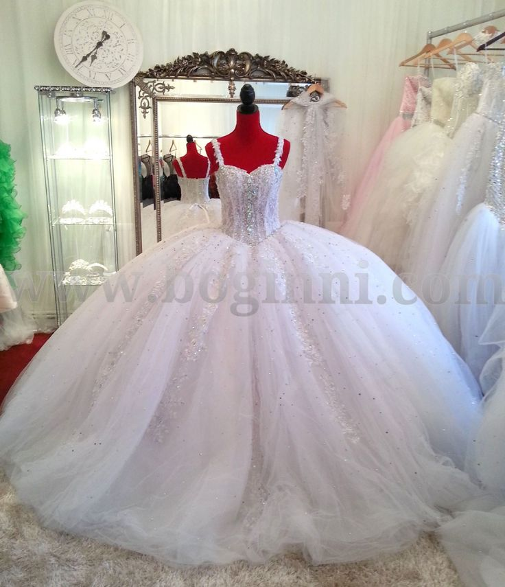 all white wedding with crystal wedding  | COUTURE GALLERY - WHITE AB CRYSTAL 250CM WIDE BIG FAT WEDDING DRESS ...