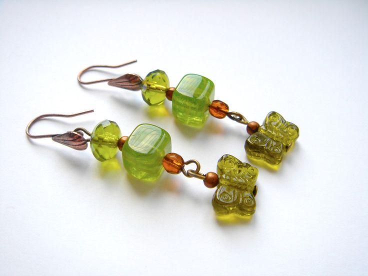 Long Vintage Czech Glass Bronze Hook Earrings GREEN AMBER Buttefly Dangle Drop #Unbranded #DropDangle