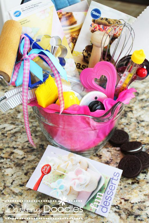 Darling Doodles: gift ideas  This woman has millions of amazing different creative ideas for gift baskets for EVERY occasion!!: Gift Baskets, Baking Gifts, Gift Basket Ideas, Gifts Ideas, Gift Ideas, Darling Doodles, Gifts Baskets Ideas, Diy Gifts, Baker Gifts