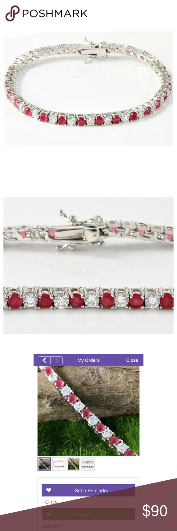 """4.25ctw Genuine Ruby & Sapphire Bracelet ▪Price includes selling fees▪ 🔹Save by Bundling or Visiting my Website🔹 📌Read my Listing with """"Buying Policies"""" BEFORE purchasing items📌 🚫Holds, Trades, & Low-Ballers Will Be Blocked🚫  Class, Beauty, Style, Shimmer, & Shine This Bracelet has it all!  Retail $399 + tax ($434.50)  Samuelle & Co Bracelet Total Carat Weight: 4.25 Gemstones: Genuine Ruby & White Sapphire Type: Tennis Bracelet Length: 7"""" Weight: 9.3g Clasp: Open Box  Metal: 14k White…"""