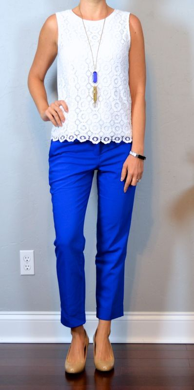 outfit post: white floral lace shell, blue cropped pants, nude wedges | Outfit Posts | Bloglovin'