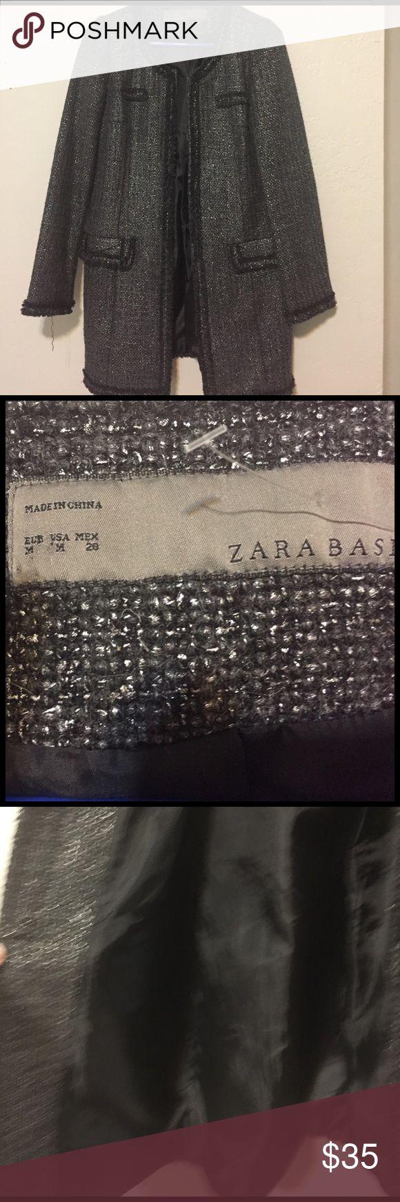 Zara dressy jacket medium Beautiful fully lined Zara longer length dressy jacket- medium weight. Black with silver threading - two front pockets. Cute detailing around hem and edges. Inner hook closures. Zara Jackets & Coats