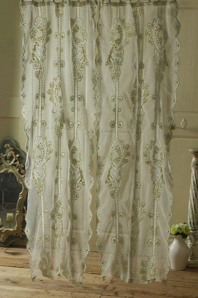アンティーク スリムレースカーテン(クリーム/ペア)  French Vintage Lace Curtain Pair