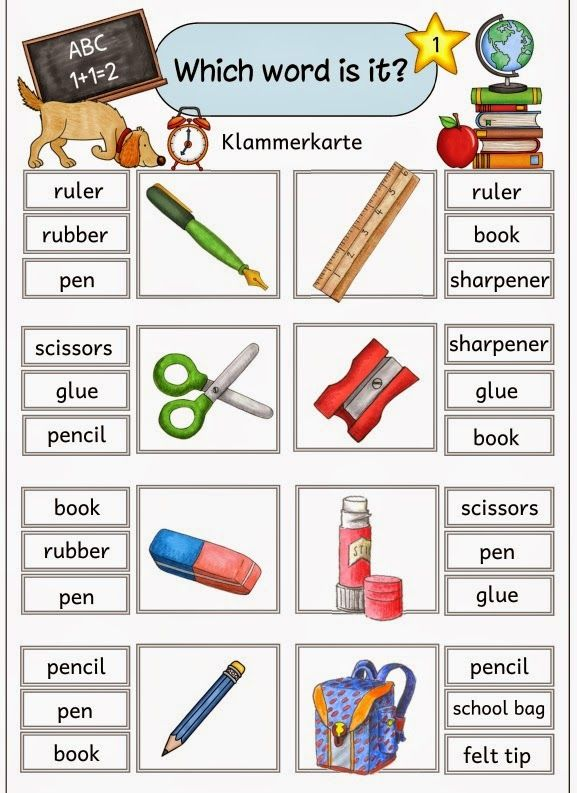 "Ideenreise: Klammerkarten ""School things"""