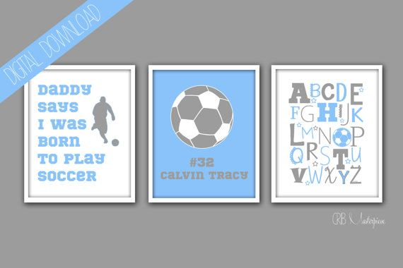 "Soccer - Sports Baby Boy Nursery Art - Born to Play Soccer - You Pick the Colors! This is a nursery art print from my Etsy shop ""Crib Masterpiece."" Check it out!"