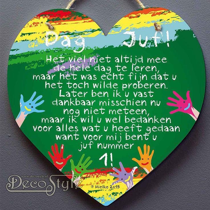 SLC Spreukenhart Hout Kleur - DAG JUF  Omschrijving:  Houten hart met Tekening…