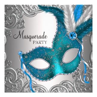 masquarade party ideas   ... Blog: Teal Blue Silver Mask Masquerade Ball Party Custom Invites