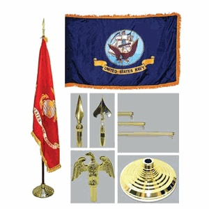 Navy 4ft x 6ft Flag, Telescoping Flagpole, Base, and Tassel