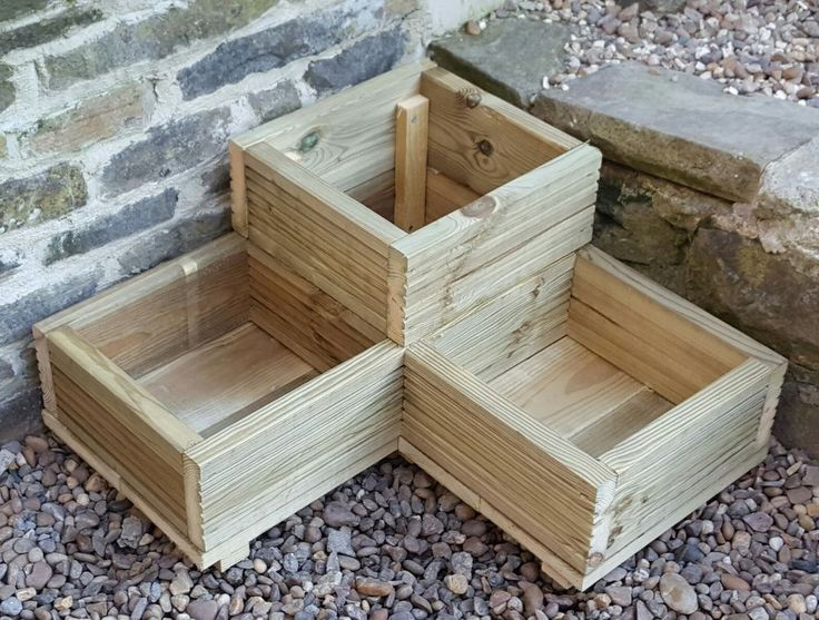 L Shaped Garden Planter. Base is 22 mm Pressure Tanalised Timber. Made from 125 x 32mm Tanalised Decking. Each box is 30cm x 30cm and 12cm deep. Fully assembled ready to use. | eBay!