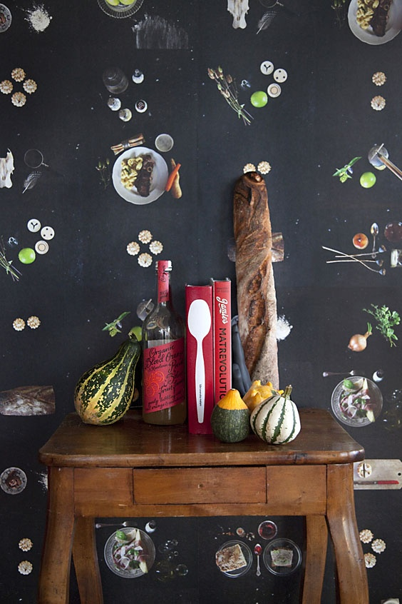 """Wallpaper """"Limestone""""  """"In short, a wallpaper by Ginger Design Studio is like a fusion between the comic strip and a patinated cookbook."""""""