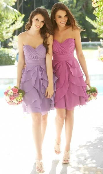 Prettyiest bridesmaid dresses ive ever seen!!! <3 !!!!! ruffles, pink, purple, bride, maid, dress, flowers, pretty, short, heels, cute, beautiful