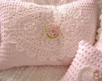 White Chenille | Vintage Chenille Feather Pillow - S weet Baby PINK Chenille, White ...